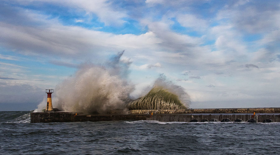 Beacon Breakers Breakwater Clouds Cloudy Sky Fishing Harbour Harbour Ocean Storm Waves Waves Weather