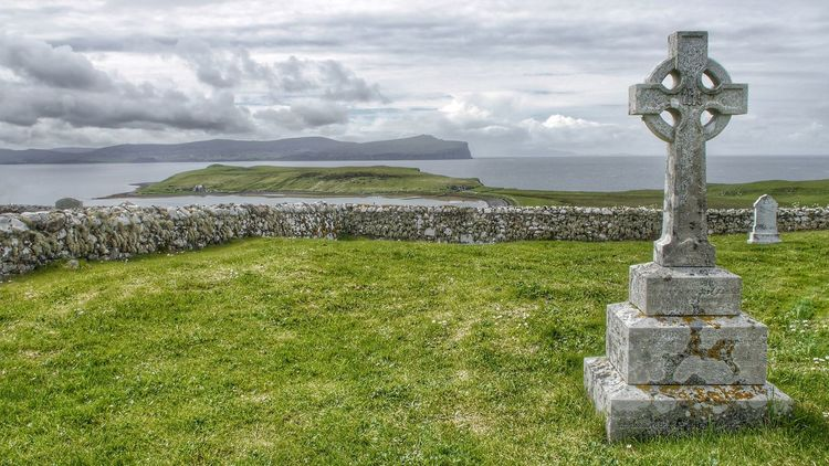 Graveyard by the Sea on the Isle Of Skye Scotland United Kingdom Graveyard Beauty Grave Graveyard Collection View From Above Ocean View Sea And Sky Sky And Clouds Global Photographers Alliance Global Photographer Works Exhibition Sky Landscapes With WhiteWall Landscape Landscape_Collection Celtic Cross Original Experiences Grief Loneliness Transcendence The Great Outdoors - 2016 EyeEm Awards Miles Away