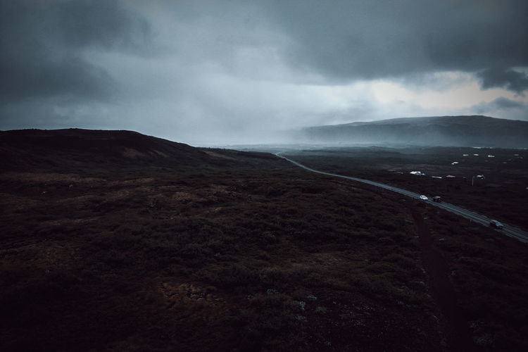 created by dji camera Cloud - Sky Sky Scenics - Nature Beauty In Nature Environment Landscape Mountain Non-urban Scene No People Nature Tranquil Scene Tranquility Land Day Outdoors Overcast Storm Road Remote