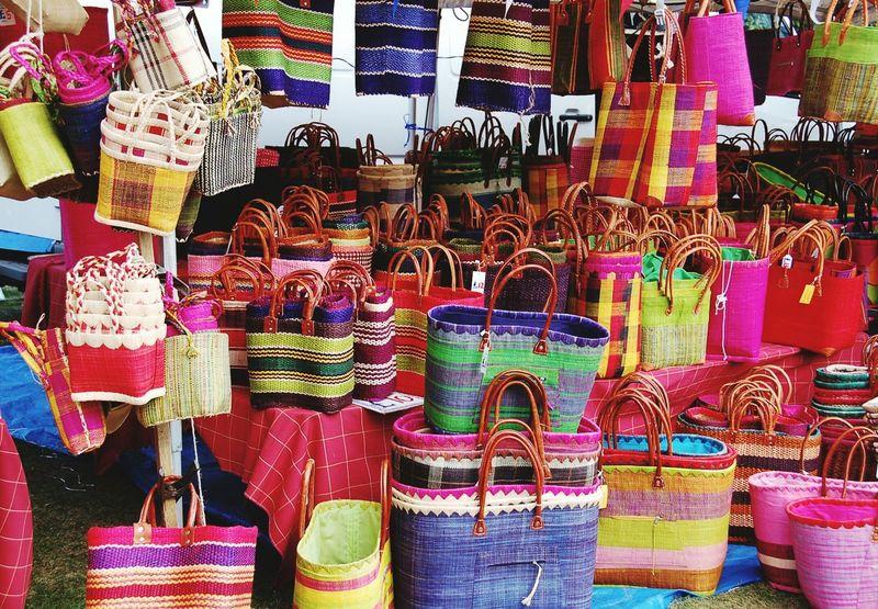 Baskets Colours Market Stall Raffia