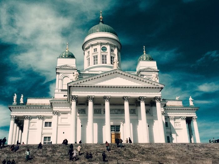 Low Angle View Of People Outside Helsinki Cathedral