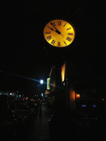 Cities At Night Clock Clock Face Downtown Streetphotography Nightphotography Street Light Timepiece