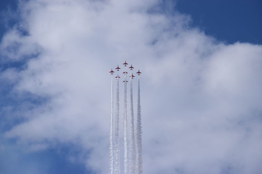 Southport Airshow 2016 Airshow Blue Sky Cloudy Flying Smoke Trails Jetplanes Red Arrows Red Arrows Air Display