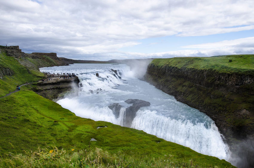 Icelandic Iceland_collection Iceland Memories Islanda Iceland Goldencircle Golden Circle Beauty In Nature Flowing Water Green Color Grass Blurred Motion Power In Nature Gulfoss Gulfoss Waterfall Gulfoss In Iceland Foss