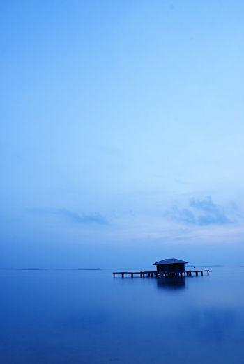 morning scene at Tidung Island, the picture taken at 5.00 AM, no filter color, the blue color is real, no photo shop Blue Hour Morning Morning Sky Architecture Beauty In Nature Blue Blue Sky Cloud - Sky Copy Space Horizon Horizon Over Water Idyllic Nature No People Outdoors Scenics - Nature Sea Sea And Sky Seascape Seasky Sky Tranquil Scene Tranquility Water Waterfront