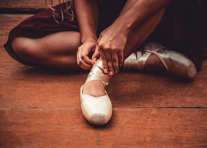EyeEmNewHere Low Section Real People Dancing Ballet Human Body Part Ballet Dancer Indoors  Shoe Human Leg Ballet Shoe Sitting Lifestyles Skill  Body Part Women Practicing Performance Flooring Wood Human Foot