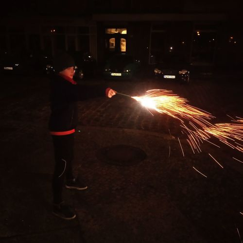 New year's Eve New Year's Eve Young Boy Harrypotter City Illuminated Firework Light Sparkler New Year New Year's Day