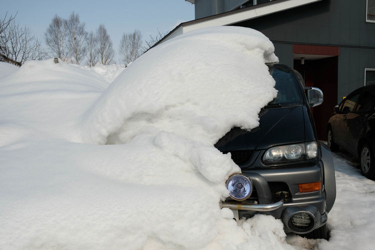 Snow covered car on snowy landscape