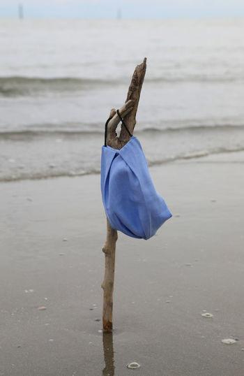 Blue umbrella on beach