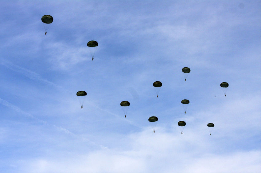 Adventure Flying Low Angle View Military Exercise NATO Parachute In The Sky Parachute Jump Team Parachutes Parachutes In Formation Traverse
