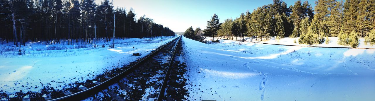 Cold Temperature Winter Snow Railroad Track Nature Day Sky Blue No People Beauty In Nature First Eyeem Photo