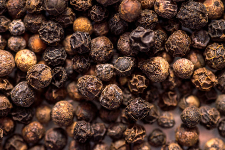 Full frame shot of black peppercorns