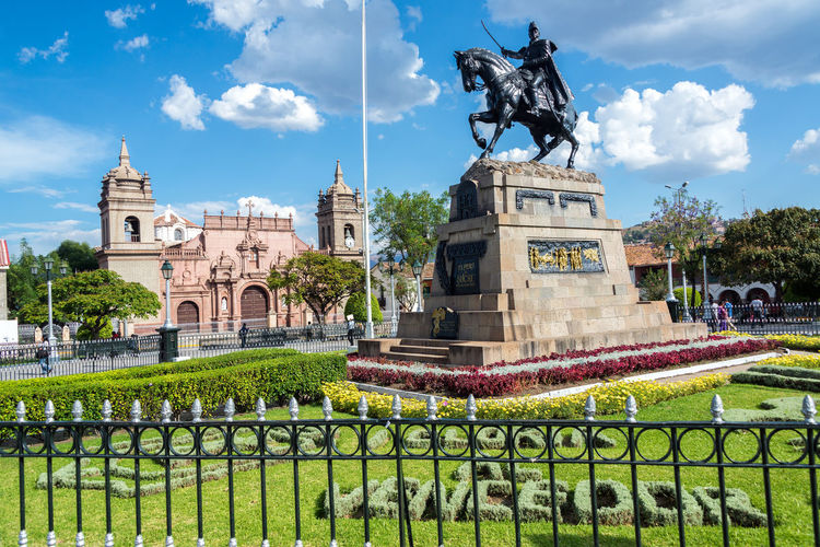 The Plaza de Armas with the cathedral in the background in Ayacucho, Peru America Andes Andes Mountains Architecture Ayacucho  Ayacucho Perú Background Cathedral Church Cityscape Culture History Inca Outdoors Peru Peruvian Plaza Plaza De Armas Puna South South America Statue Tourism Town View