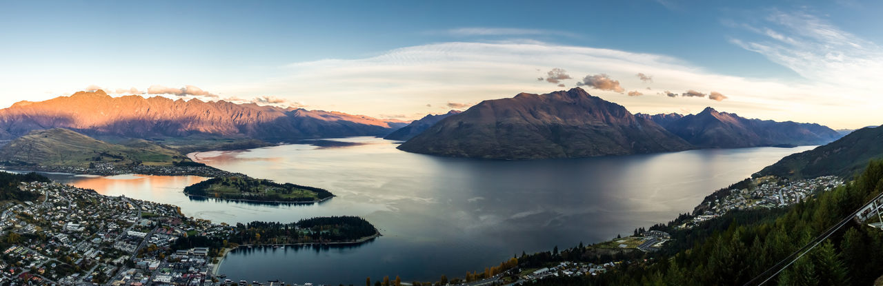 Queenstown in panoramic view, south island, new zealand.
