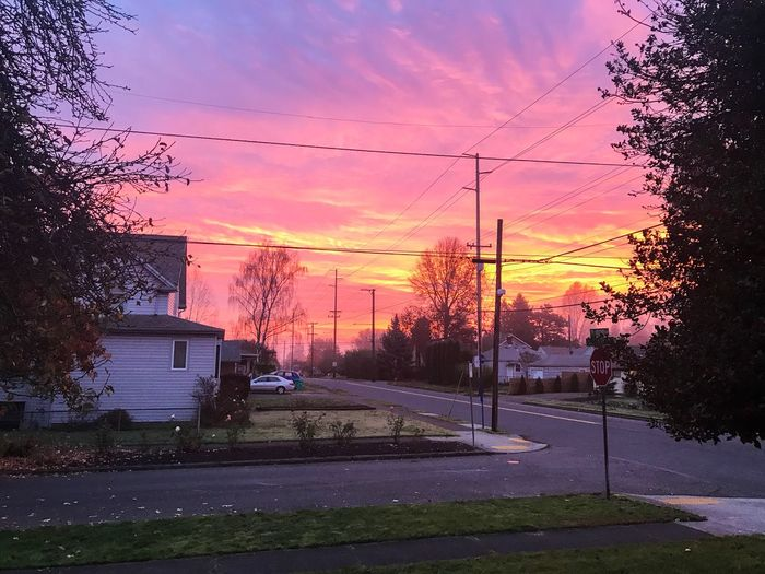 Sunrise this morning Street Sky Cloud - Sky Power Line  No People Iphone7plusphoto My Point Of View Scenics Oregonlife Oregon Oregonexplored Enjoying Life Taking Photos Colors Of Autumn Pink Sky Sunrise And Clouds