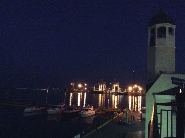 Night Sea Night Lights Ships Boats Port