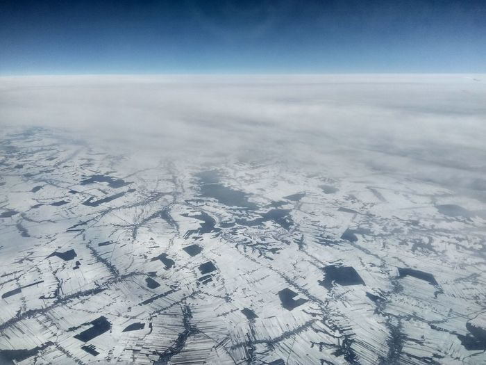 Cold Temperature Winter Snow Rural Scene Aerial View Astronomy Blue Clear Sky Sky Landscape Geology Polar Climate Dramatic Landscape Arctic