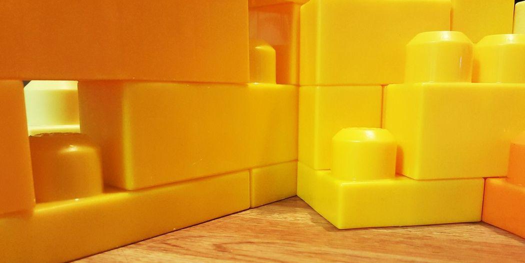 Beautifully Organized Geometric Shapes Geometric Art Yellow Childs Toy Close-up Stacked