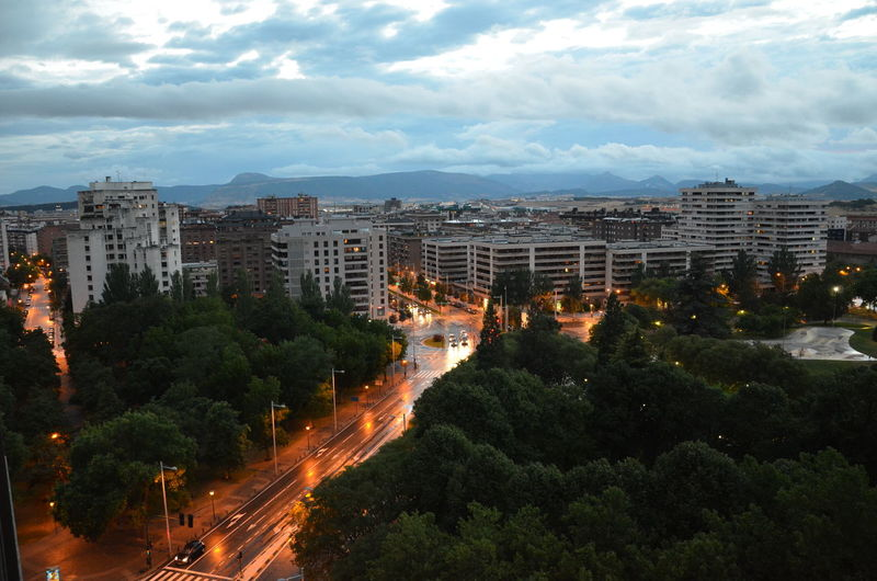 High angle view of city buildings against sky pamplona