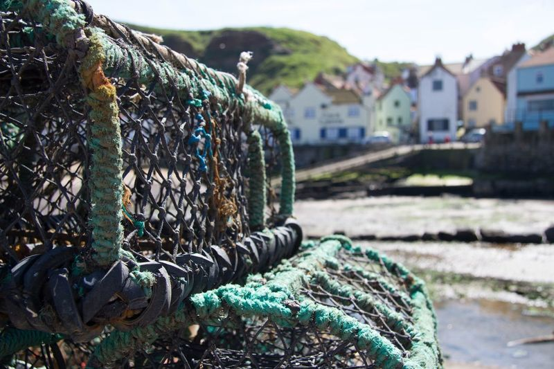 Close-up of lobster traps