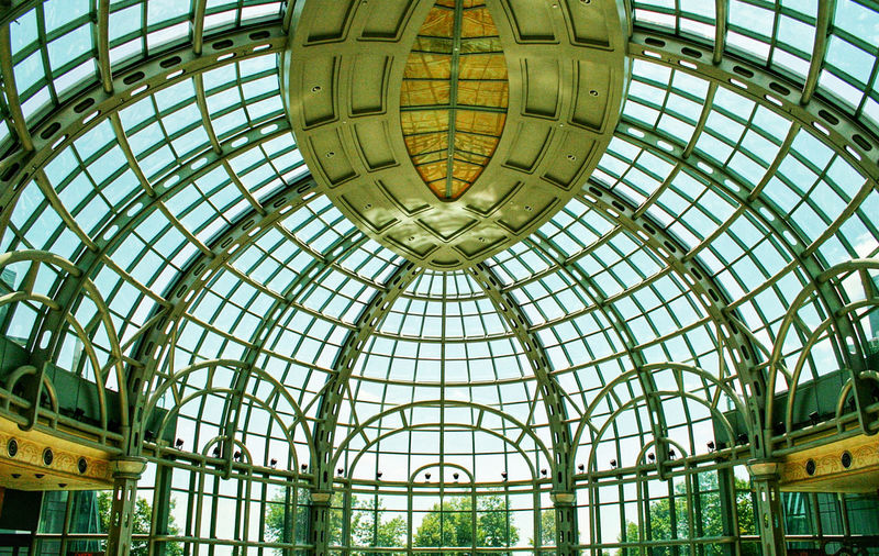 Glass Gallery Green Indoors  Blue Sky Windows Gallery Curves Water Reflection Trees Glass Ceiling Daytime No People Dome Glass - Material Ceiling Architecture Low Angle View Design Day No People Skylight
