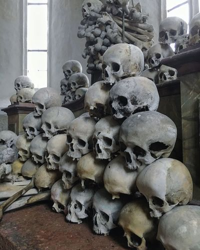 Large Group Of Objects No People Stack Indoors  Day Architecture Scull Ossuary Bones Austria Fortress Church Death