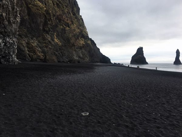 Rocks Rock Formation Seascape Landscape Arlanticocean Black Beach Vik Reynisfjara Black Sand Volcanic Landscape Nesting Place Puffin Impressive Tourist Attraction  No People Nature Sky Shore Coast Iceland Beauty In Nature Travel Destinations Places To Visit Tranquil Scene Horizon Over Water