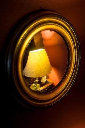 Antique Close-up Convex Mirror Detail Frame Gold Frame Lamp Miror Reflect Mirror Reflection Still Life