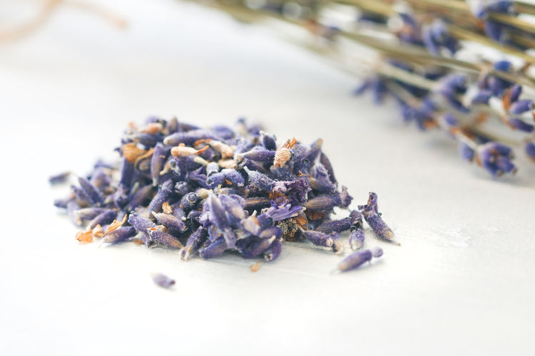 Close-up of dried lavender flowers on table