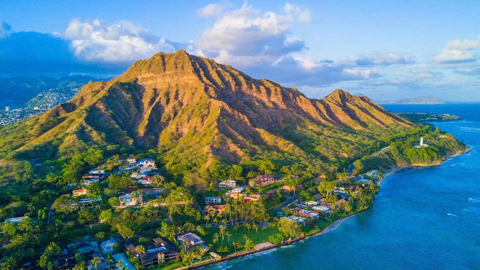 Golden Diamond. Mountain Sky Cloud - Sky Beauty In Nature Hawaii Drone  Dronephotography Scenics No People Landscape Water Mountain Range Outdoors Tranquil Scene Nature Tranquility Day Sea High Angle View