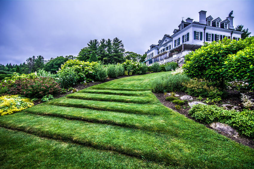 Architecture Beauty In Nature Built Structure Cloud Day Edith Wharton Estate Grass Grass Stairs Green Green Color Growing Growth Landscape Lawn Lush Foliage Nature No People Outdoors Plant Scenics Sky Sunny Tranquil Scene Tranquility The Mount