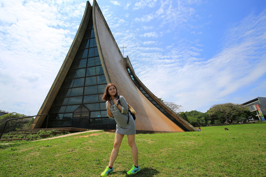 Tunghai University Church Portrait Of A Woman Taichung Taiwan Travel Photography Tunghai University Architecture Beautiful Woman Building Exterior Happiness Leisure Activity Lifestyles One Person One Young Woman Only Outdoors Portrait Standing Woman Portrait Young Adult Young Women