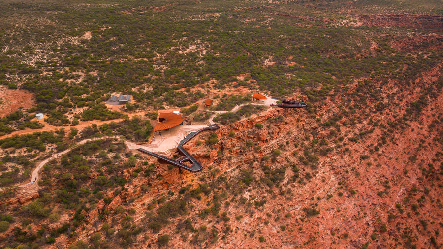 Aerial photo of newly opened skywalk attraction in kalbarri national park in western australia.