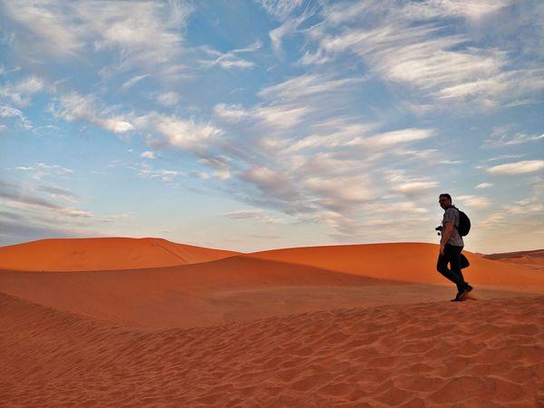 Namibia Landscape Namibia Desert Africa Deadvlei Dunes EyeEm Selects Sand Dune Desert Full Length Adventure Arid Climate Sand Walking Sunlight Summer Sky First Eyeem Photo