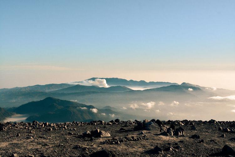 Scenic of mahameru in the morning. mahameru peak 3676 masl