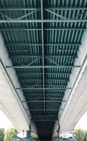 From Boat Rhine River Rhine River Bridge Under Bridge Built Structure Architecture Bridge Bridge - Man Made Structure Transportation Low Angle View Day Metal Pattern Underneath No People Diminishing Perspective Outdoors Modern City