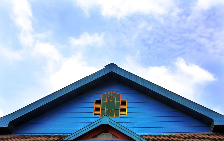 Cloud - Sky Triangle Shape Sky Roof Architecture Window Building Exterior Built Structure Day House Outdoors Low Angle View No People Pediment Blue Yogjakarta INDONESIA Perspective