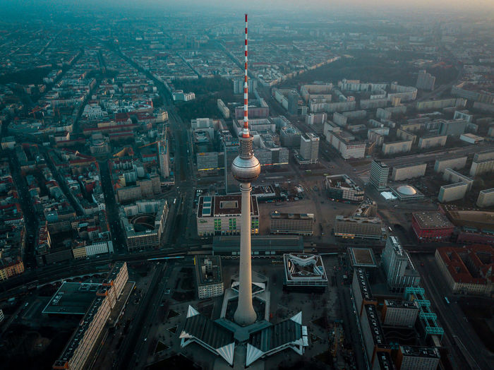 Berlin TV tower from above Architecture Building Exterior City Built Structure Cityscape Building Tower Tall - High Travel Destinations Crowded High Angle View Travel Tourism Crowd Residential District Sky City Life Outdoors Modern Skyscraper Spire  Berlin Sunrise Aerial View Fernsehturm