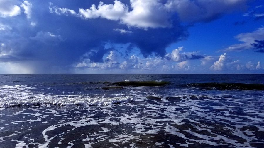 Clouds Rain Travel Waves Ocean Hilton Head Island, SC Hilton Head Blue Sky Weather Water Thunderstorm Sea Wave Power In Nature Storm Cloud Beach Surf