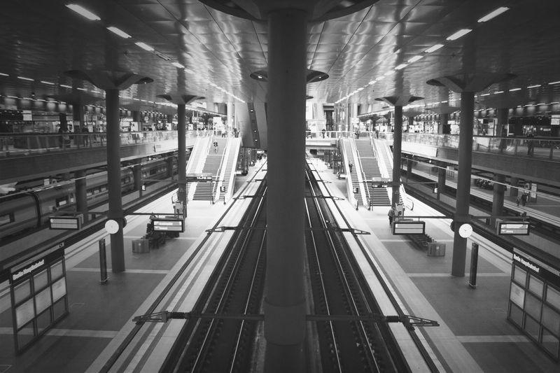 High Angle View Of Illuminated Subway Station
