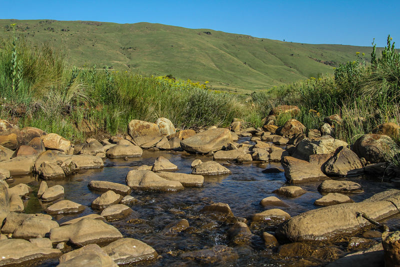Beautiful landscape of Mpumalanga in South Africa Landscape Water Rock Scenics - Nature Beauty In Nature Environment Tranquil Scene Nature Non-urban Scene Plant Rock - Object No People Flowing Water Outdoors Mountain Sky Green Color Tranquility Stream River