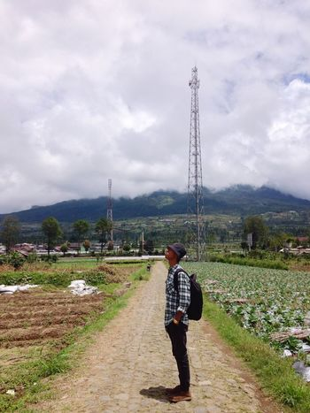 Fresh air from the mountain Real People Cloud - Sky Sky One Person Full Length Rear View Day Standing Men Landscape Mountain Nature
