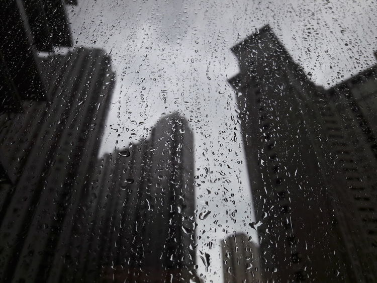 Indoors  Glass - Material Wet Window Rain Focus On Foreground Silhouette Full Frame Day Sky Rainy Season Water Close-up Nature Skyscraper Backgrounds Storm Cloud Storm
