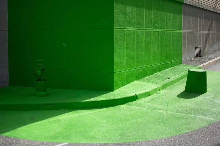 Architecture Art Emotions Empty Green Color No People Paris Road Street Vibrant Color First Eyeem Photo