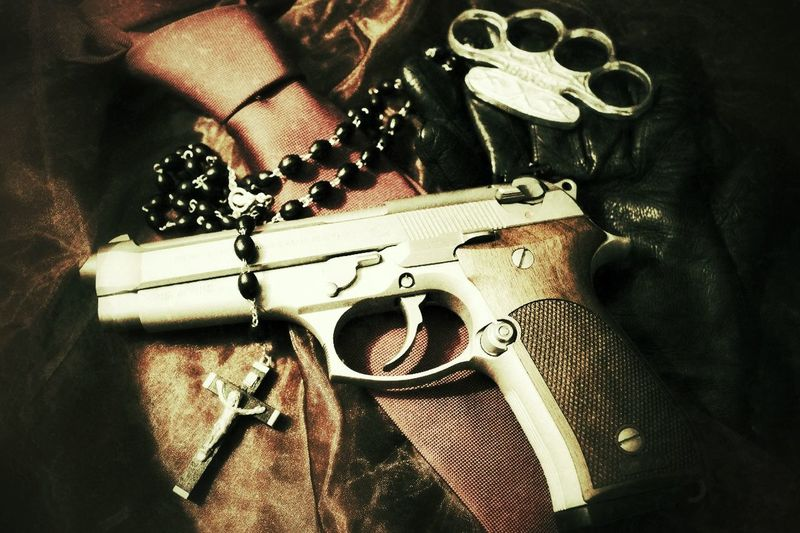 Gloves Beretta Weapon Red Tie Tie Tadaa Community Taking Photos Photography Art Drink Taking Photos Hitman Rosary Light And Shadow This is not a glorification of violence, but only to be regarded as art. inspired by the movie Hitman