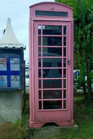 Pink coloured Telephone Booth Next to Palms Pink Pink And Green Telephone EyeEm Selects Telecommunications Equipment Communication No People Day Outdoors Telephone Booth Architecture Building Exterior Technology Close-up