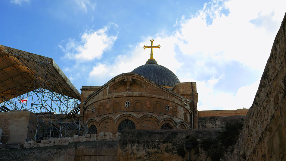 Architecture Building Exterior Built Structure Cloud - Sky Day Dome History Holy Land Holy Sephulchre Holy Sepulchre Jerusalem Jerusalem Israel Low Angle View No People Outdoors Place Of Worship Religion Sepulcher Sepulchre Sky Spirituality Travel Destinations An Eye For Travel
