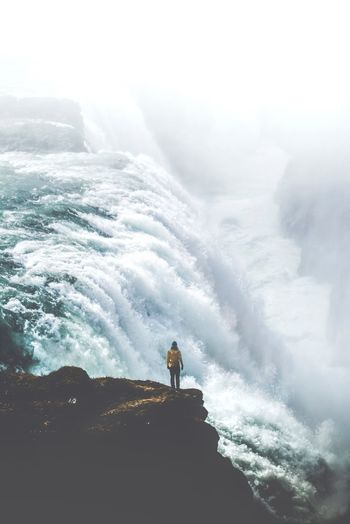 Power Waterfall Gullfoss Real People Lifestyles Men Leisure Activity Scenics - Nature Nature Beauty In Nature Outdoors