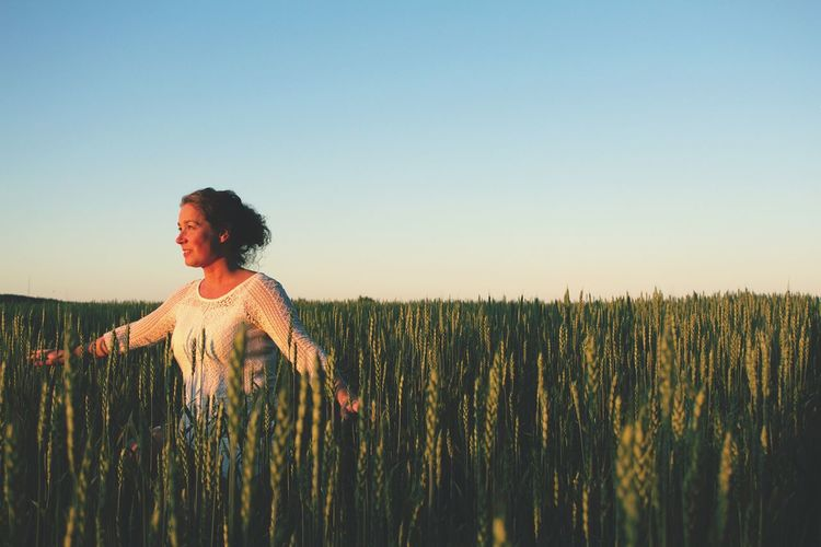 Magic morning! Summer Vibes Summertime Swedish Nature Thinking About Life Swedish Girl Swedish Summer Enjoying Life Mornings Sunrise Wheat Cereal Plant Sunset Women Portrait Rural Scene Young Women Summer Cultivated Land Farmland