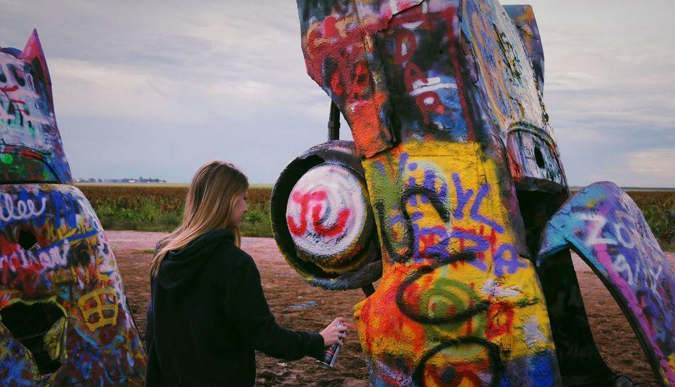 Cadillac Texas Colorfu Me Girl Graffiti Spray Cadillac Ranch